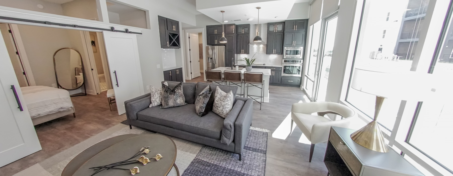 Kitchen and living area island at 500 West Trade in Charlotte, NC
