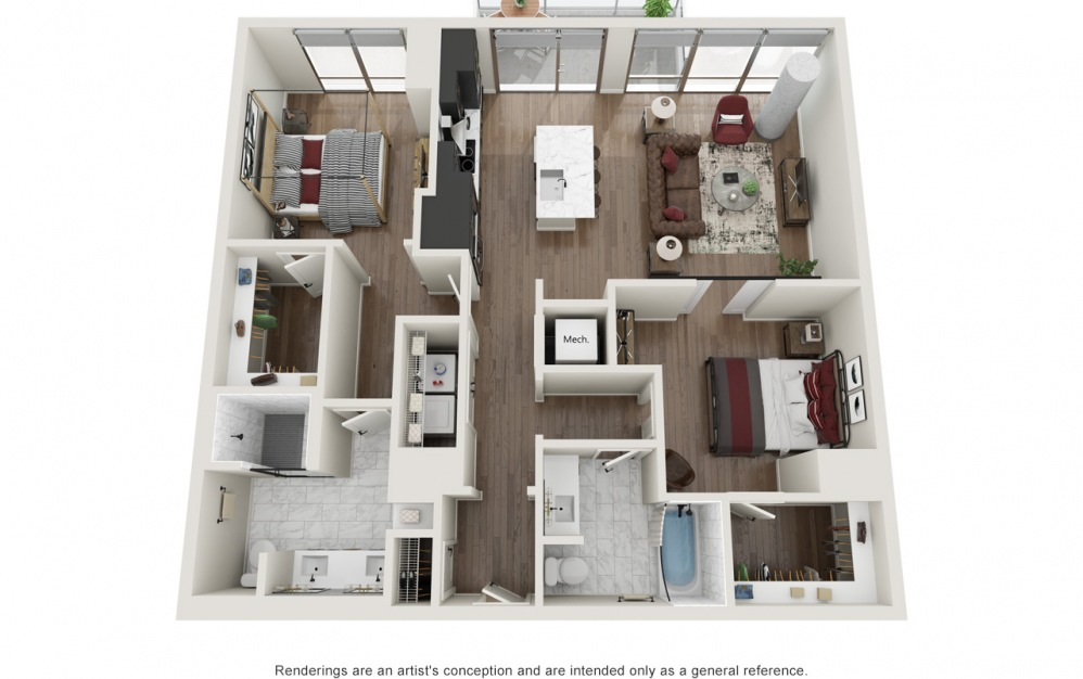 B2.T - 2 bedroom floorplan layout with 2 baths and 1226 square feet.