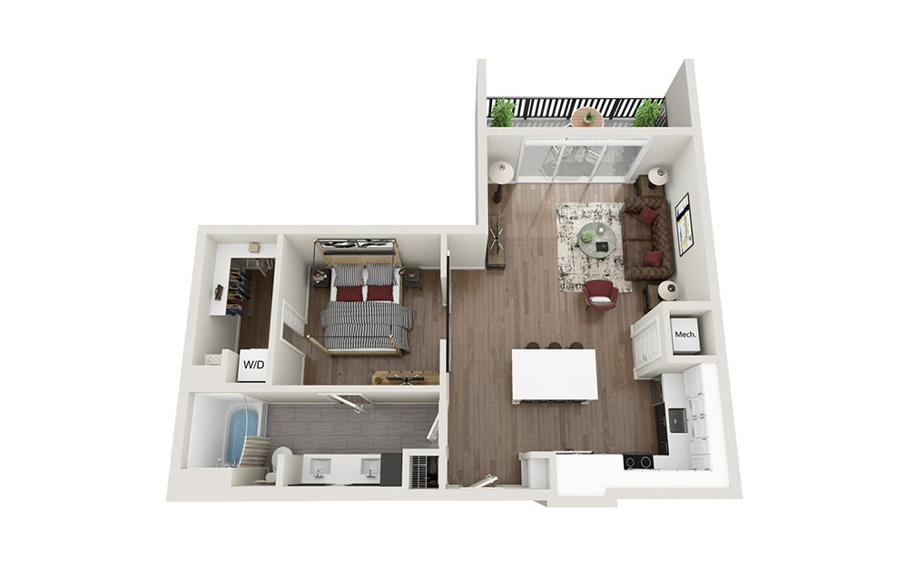 A3 - 1 bedroom floorplan layout with 1 bath and 778 square feet.