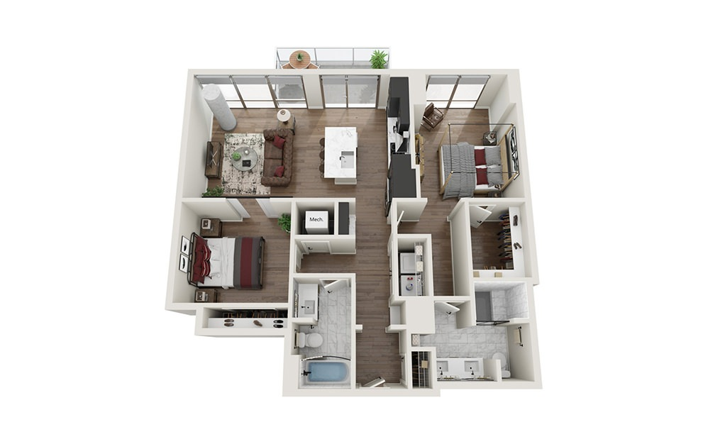 B1.T - 2 bedroom floorplan layout with 2 baths and 1179 square feet.