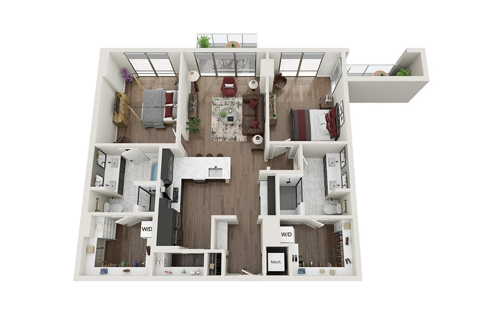B3A.T - 2 bedroom floorplan layout with 2 baths and 1244 square feet.