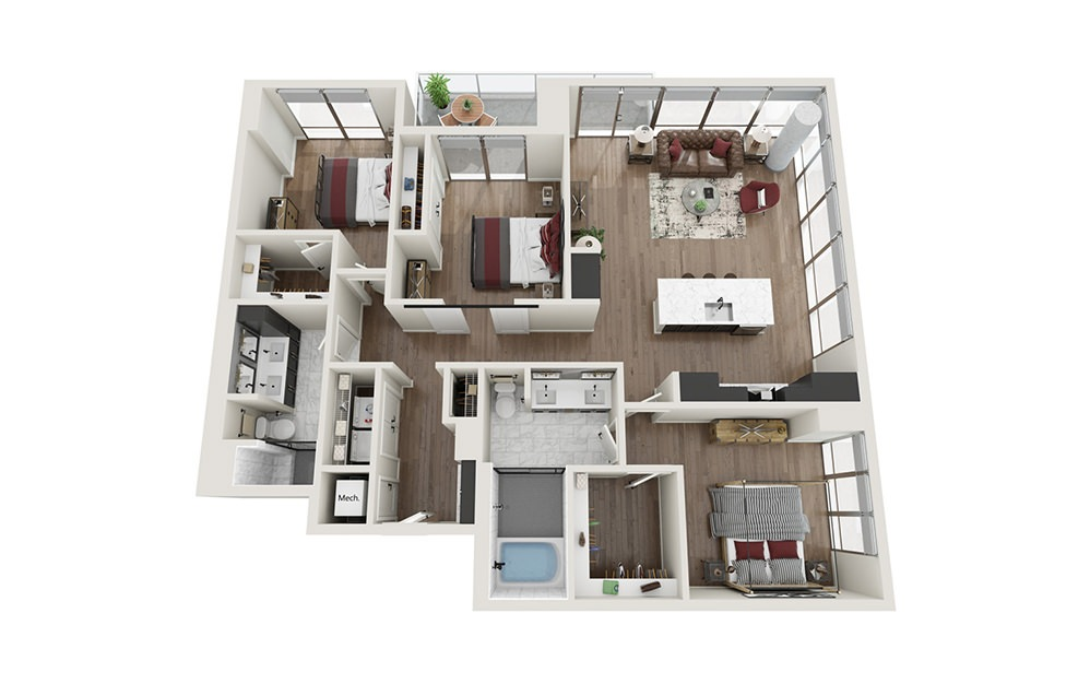 C1.T - 3 bedroom floorplan layout with 2 baths and 1534 square feet.
