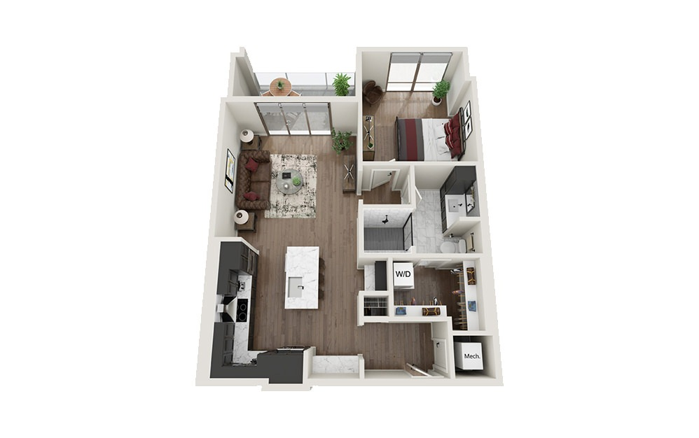 A1.T - 1 bedroom floorplan layout with 1 bath and 805 square feet.