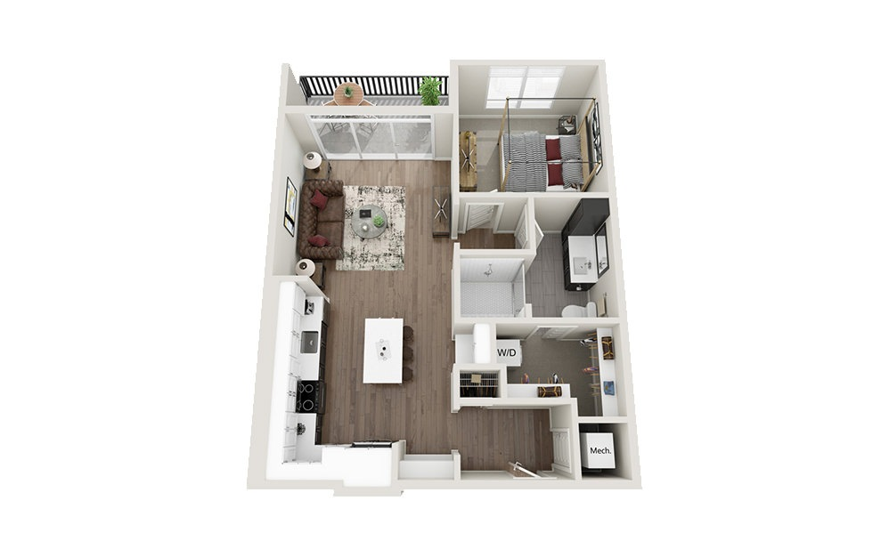 A2 - 1 bedroom floorplan layout with 1 bath and 748 square feet.