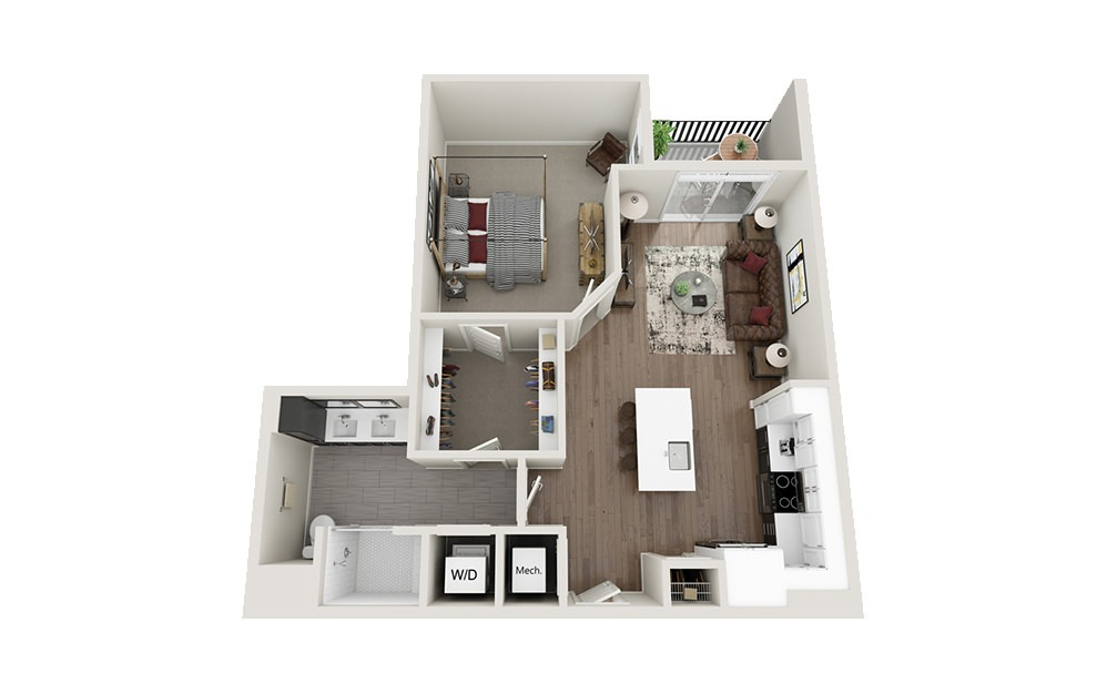A4 - 1 bedroom floorplan layout with 1 bath and 802 square feet.