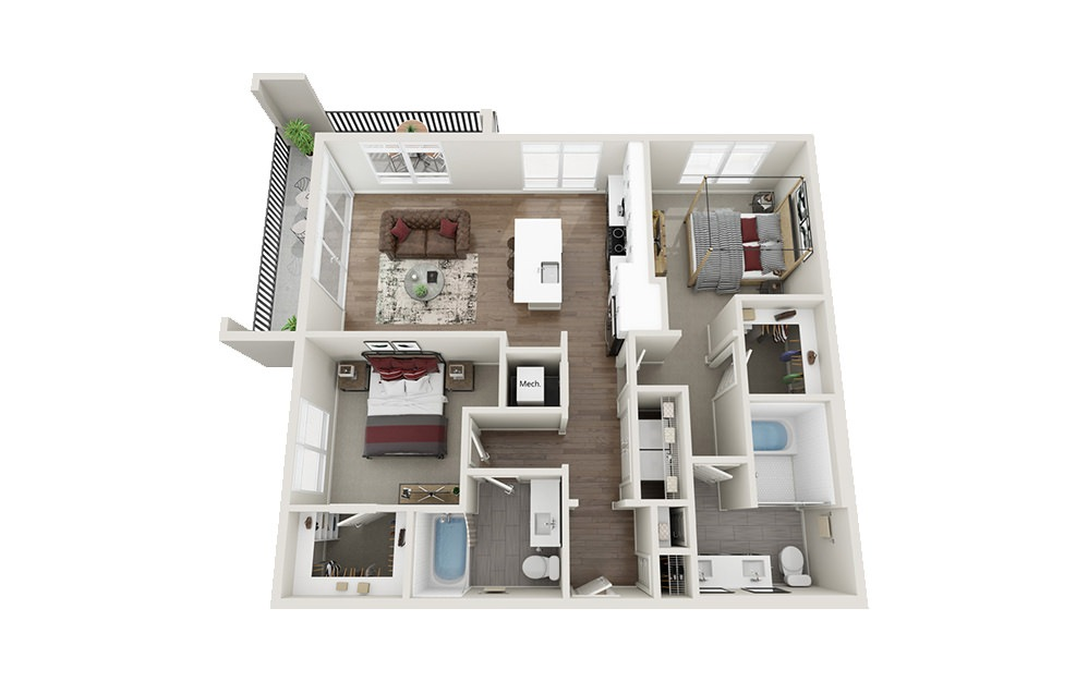 B1.A - 2 bedroom floorplan layout with 2 baths and 1116 square feet.