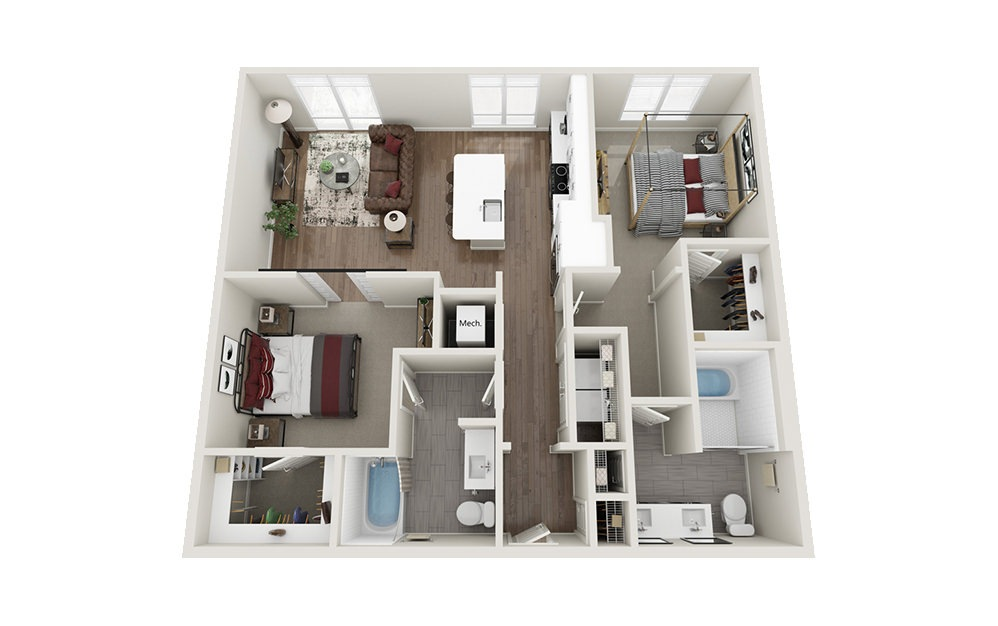 B2 - 2 bedroom floorplan layout with 2 baths and 1152 square feet.