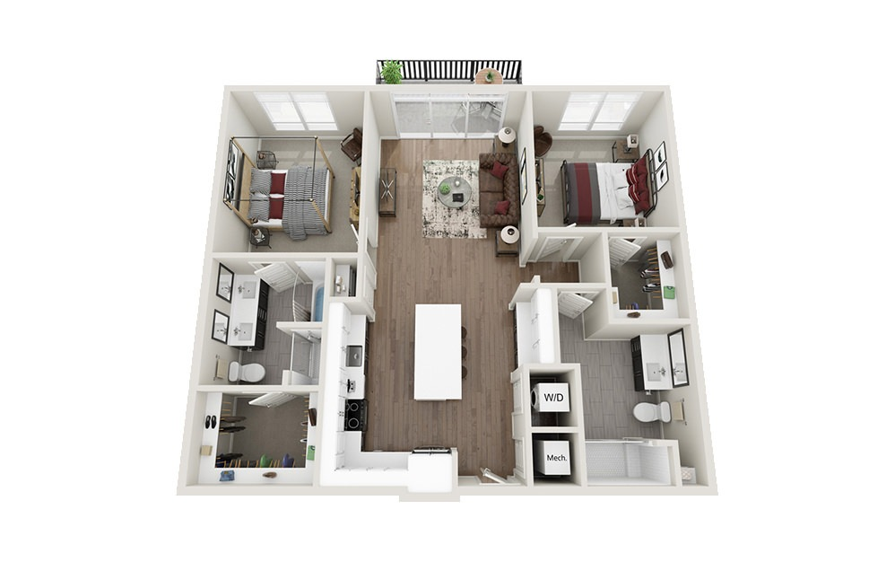 B3 - 2 bedroom floorplan layout with 2 baths and 1186 square feet.