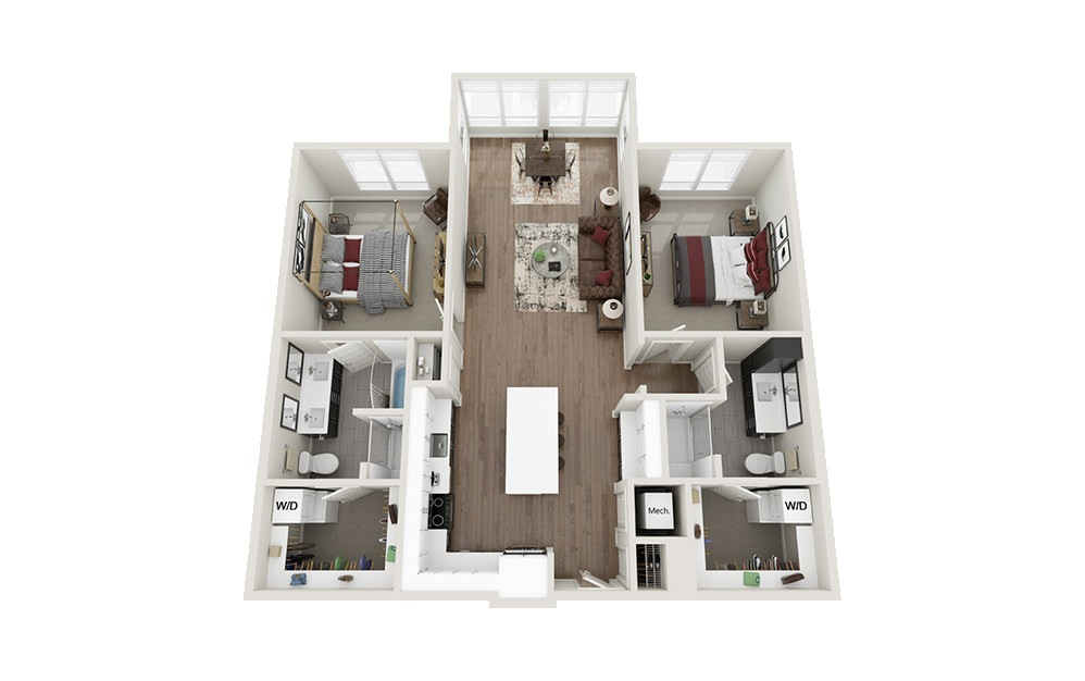 B3S - 2 bedroom floorplan layout with 2 baths and 1272 square feet.