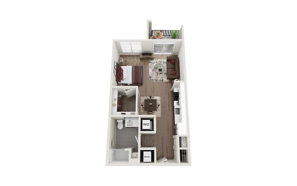 S1 - Studio floorplan layout with 1 bath and 608 square feet.