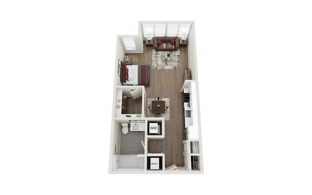 S1S - Studio floorplan layout with 1 bath and 664 square feet.