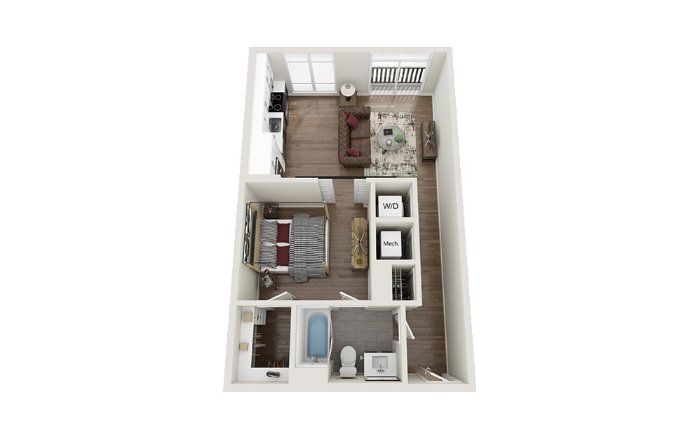 S2S - Studio floorplan layout with 1 bath and 681 square feet.