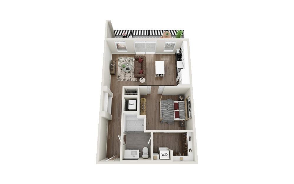 S3 - Studio floorplan layout with 1 bath and 736 square feet.