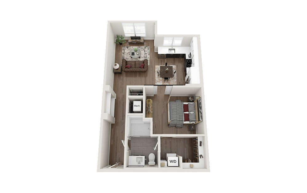S3S - Studio floorplan layout with 1 bath and 775 square feet.